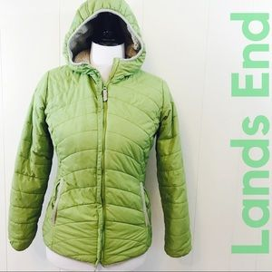 Lands End Medium Green Quilted Jacket Fleece Lined